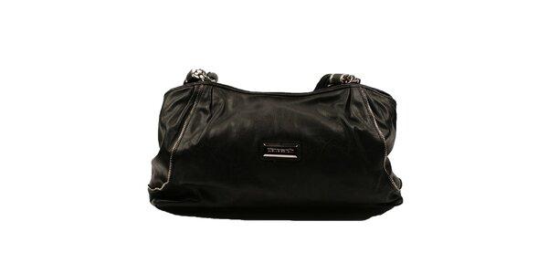 Dámská černá kabelka s copánkovými popruhy Pierre Cardin