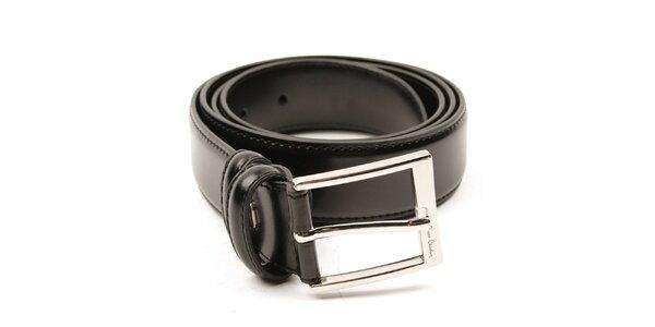 Pánský černý pásek se stříbrnou sponou Pierre Cardin