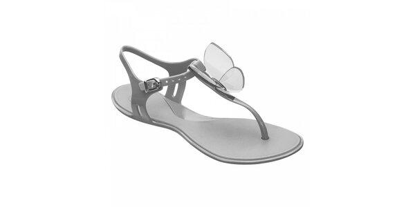 Dámské stříbrné sandály Mel s motýlem