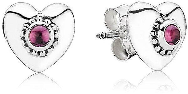 Stříbrné náušnice Pandora srdce s rodolitem