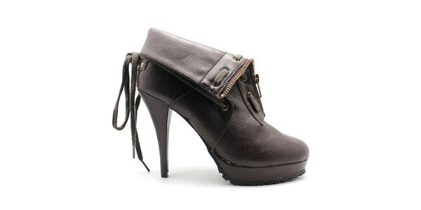 Dámské hnědé kotníčkové boty se zipem Furiezza