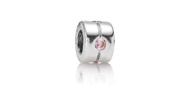 Stříbrný přívěsek Pandora s jemně růžovým broušeným kamínkem
