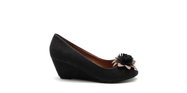 Dámské černé botičky na klínu Furiezza