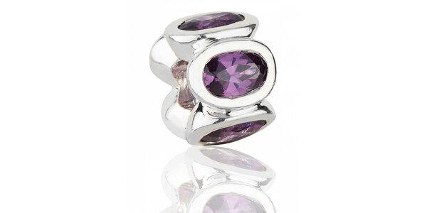 Stříbrný přívěsek Pandora s purpurovými broušenými kamínky