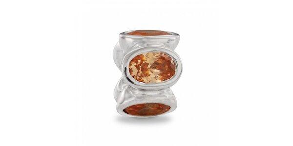 Stříbrný přívěsek Pandora s jantarově zlatými broušenými kamínky