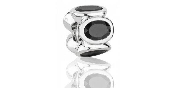 Stříbrný přívěsek Pandora s černými broušenými kamínky