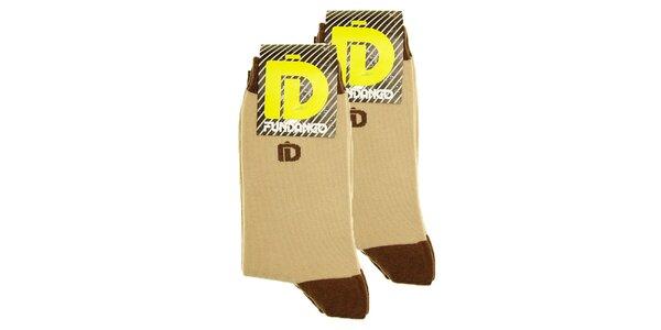Pánské béžovo-hnědé ponožky Fundango - 2 páry