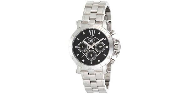 Dámské stříbrné hodinky s tmavým ciferníkem Beverly Hills Polo Club