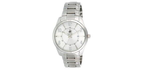 Pánské stříbrné hodinky s datumovkou Beverly Hills Polo Club