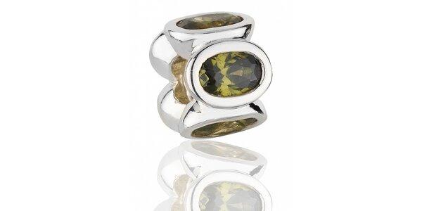 Stříbrný přívěsek Pandora s mechově zelenými broušenými kamínky