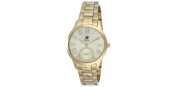 Dámské zlaté hodinky s malou vteřinovkou Beverly Hills Polo Club