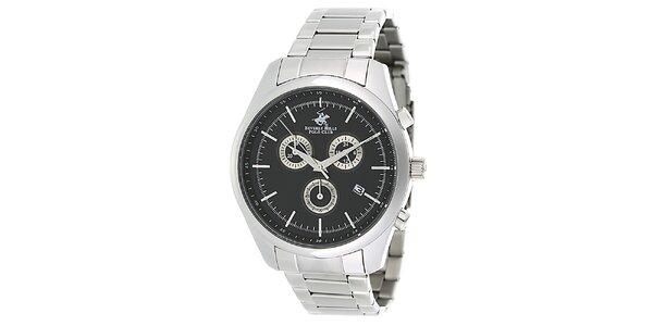 Pánské stříbrné ocelové hodinky s černým ciferníkem Beverly Hills Polo Club