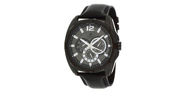 Pánské černé hodinky s originálním ciferníkem Beverly Hills Polo Club