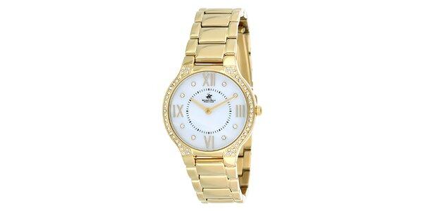 Dámské zlaté hodinky s krystalky Beverly Hills Polo Club