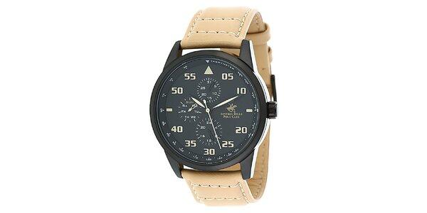Pánské hodinky s béžovým řemínkem Beverly Hills Polo Club