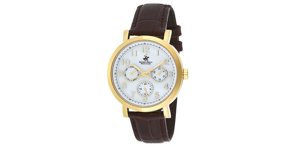 Dámské zlaté hodinky s minutovým ciferníkem Beverly Hills Polo Club