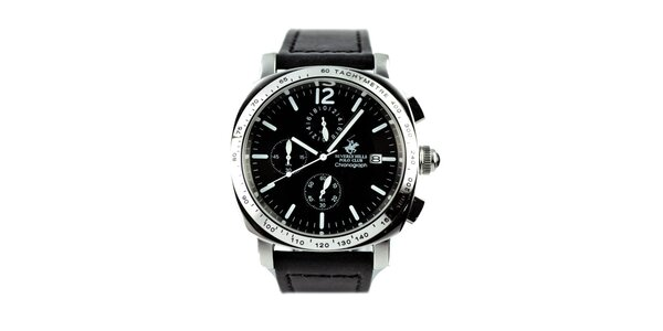 Pánské hodinky s chronografem a černým řemínkem Beverly Hills Polo Club