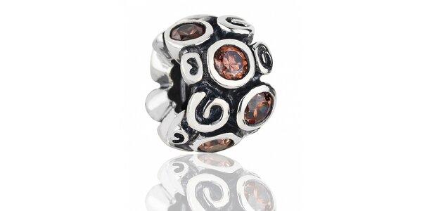 Stříbrný přívěsek Pandora s motivem prvosenky a hnědými kamínky