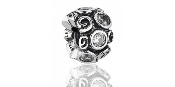Stříbrný přívěsek Pandora s motivem prvosenky a čirými kamínky