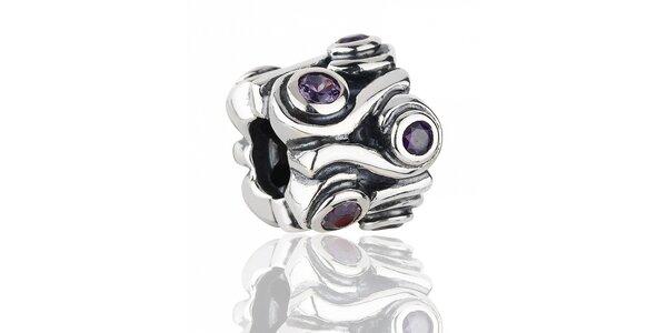 Bohatě broušený stříbrný přívěsek Pandora s purpurovými kamínky