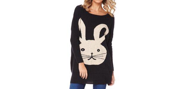 Dámský černý svetr s králíkem Miss Jolie
