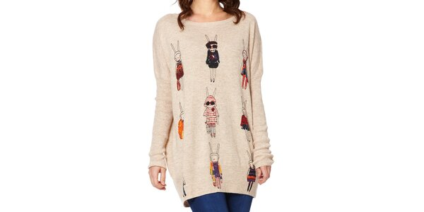 Dámský béžový svetr s králíčky Miss Jolie