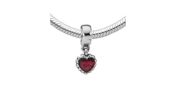 Stříbrný přívěsek Pandora se srdcem a fuchsiovou glazurou