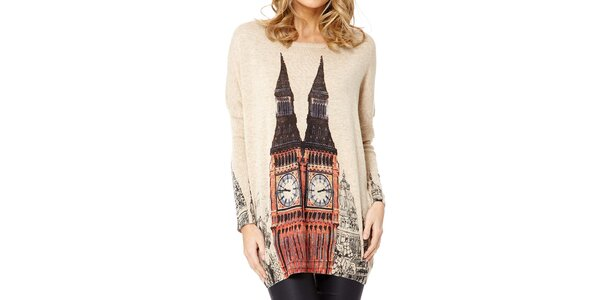 Dámský béžový svetr s Big Benem Miss Jolie
