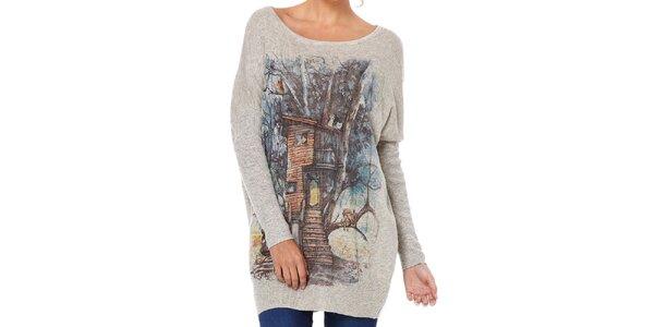 Dámský šedý svetr s lesním motivem Miss Jolie