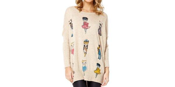 Dámský béžový svetr s kočičkami Miss Jolie
