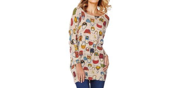 Dámský béžový svetr s kabelkami Miss Jolie