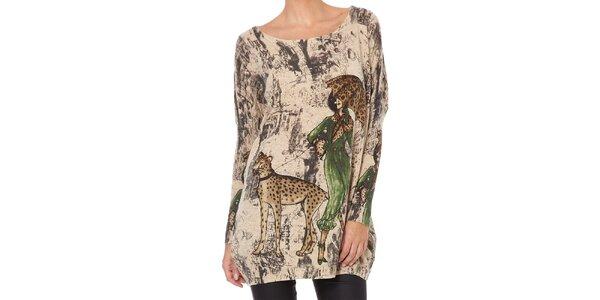Dámský béžový svetr s dámou a šelmou Miss Jolie
