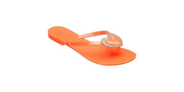 Dámské oranžové žabky se srdíčkem Mel