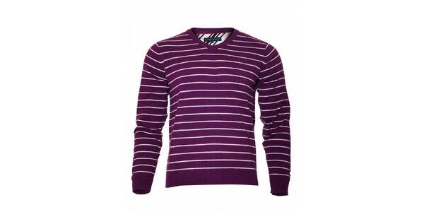 Proužkovaný fialový svetr Tommy Hilfiger sVvýstřihem