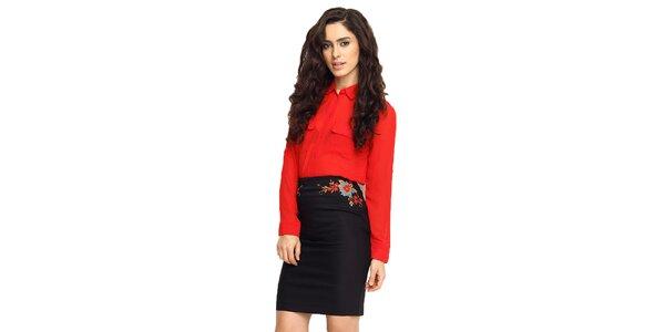 Dámská černá sukně s výšivkou TopShop