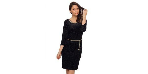Dámské černé šaty s řetízkem TopShop