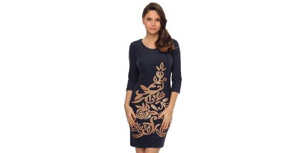 Dámské tmavě modré šaty s lesklým potiskem TopShop