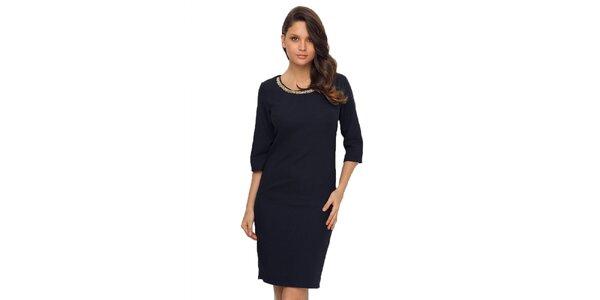 Dámské tmavě modré šaty s kanýrem na zádech TopShop