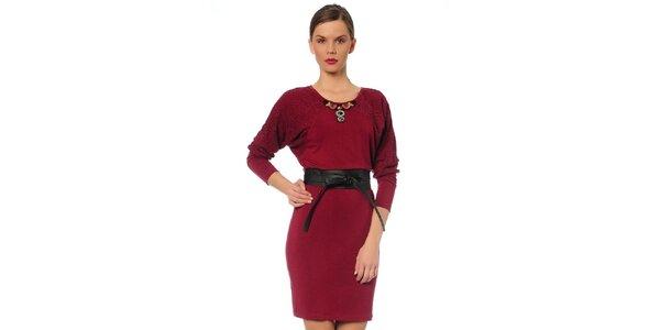 Dámské vínové šaty s páskem TopShop