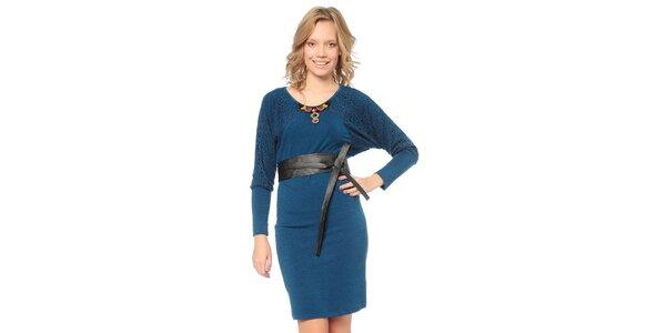 Dámské modré šaty s páskem TopShop