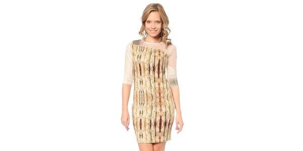 Dámské světle béžové šaty se vzorem a transparentní částí TopShop