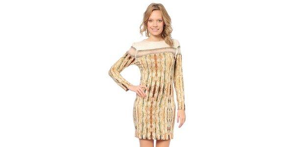 Dámské světle béžové šaty se vzorem TopShop