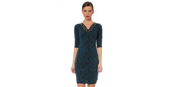 Dámské zelenotyrkysové šaty s ozdobným výstřihem TopShop
