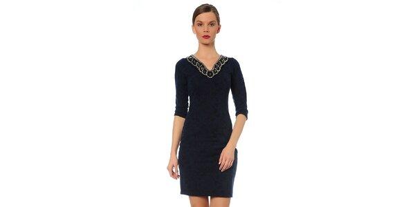 Dámské tmavě modré šaty s ozdobným výstřihem TopShop