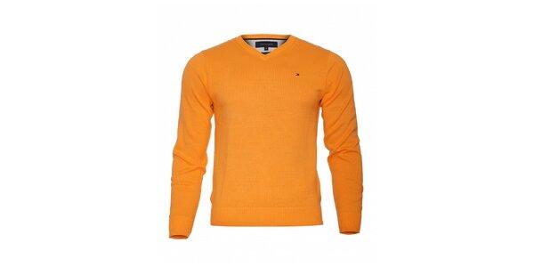 Oranžový svetr Tommy Hilfiger sVvýstřihem
