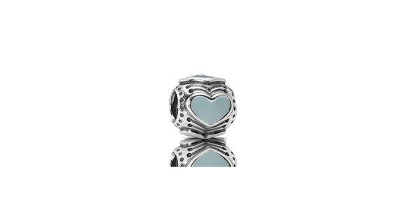 Stříbrný přívěsek Pandora s modrým srdcem