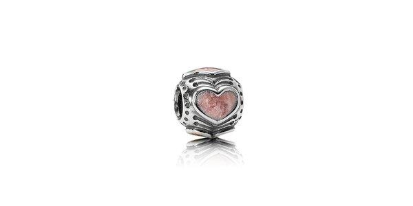 Stříbrný přívěsek Pandora s růžovým srdcem