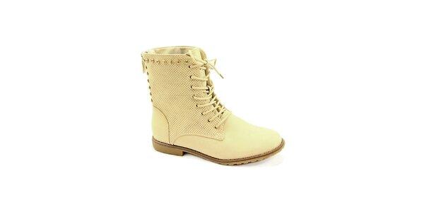 Dámské béžové boty se zipem na zadní straně Colorful