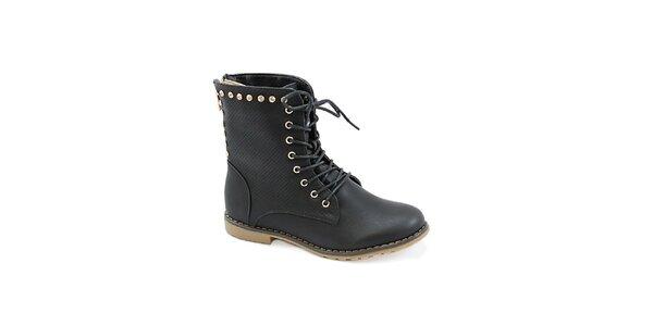 Dámské černé boty se zipem na zadní straně Colorful