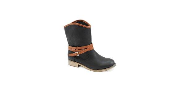 Dámské černé boty s hnědým páskem Colorful